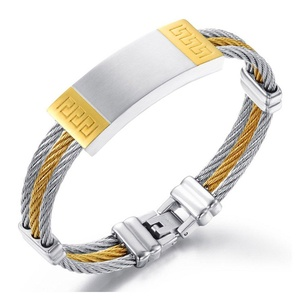 Charm Silver Gold Plated Stainless Steel Rope Men's Bracelet Wristband Bangle Jewelry (Type 2)