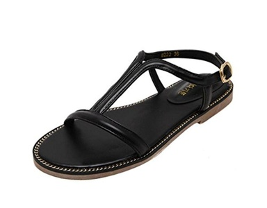 T&Mates Women's Strappy Thong Buckle Strap Gladiator Flat Sandals (6 B(M)US,Black)