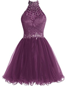 Dresstells Short Homecoming Dress 2016 Halter Tulle Prom Party Gown with Beads Grape Size 8