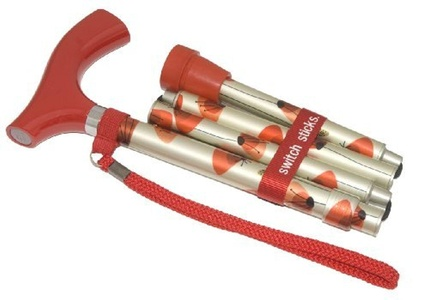Switch Stick Adjustable Folding Walking Stick - Poppies Design by Switch Sticks