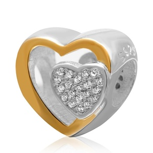 Leobeads Authentic 925 Sterling Silver 14K Gold Plated Love Heart Charms Beads with Zircon Fits Pandora Style Snake Chain Bracelet