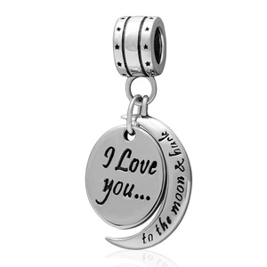 Leobeads S925 Sterling Silver I Love You to The Moon and Back Charms Dangle Pendant Fit DIY Pandora Style Bracelet Necklace