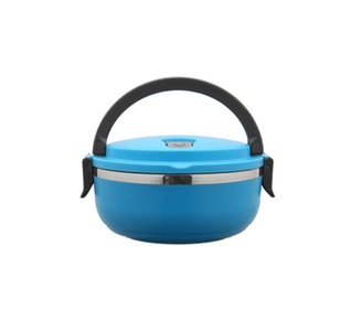 ONEONEY Insulated Lunchbox Containers One/Two/Three/Four Tier Tiffin Vacuum Seal Lid and Stainless Steel Interior-(Blue,1 Tier)