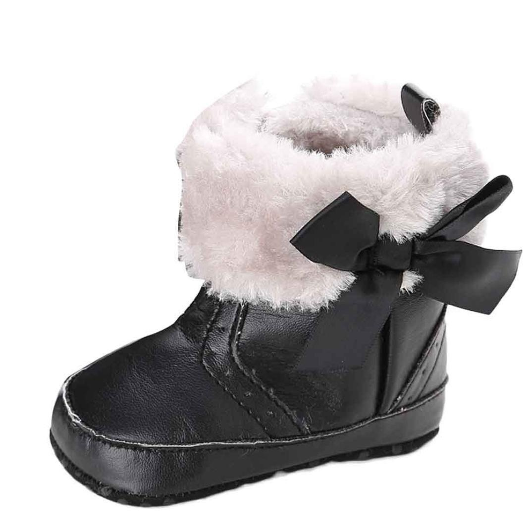 Sagton Baby Girl Soft Sole Snow BootsToddler Crib Shoes (US:3, Black)