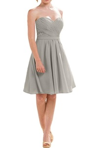 MILANO BRIDE Junior Bridesmaid Dress Homecoming Gown Strapless Pleat Lace Chiffon-8-Grey