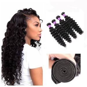 JiSheng Hair 8a Grade Brazilian Deep Curly 4 Bundles 100% Unprocessed Human Hair Weave Virgin Hair Extensions 400g Natural Color 8 10 12 14 Inches