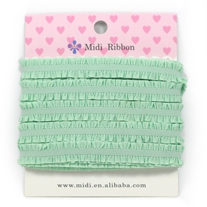 Midi Ribbon 1/2 Inch 10 Yards Ruffled Stretch Fungus Lace Elastic Ribbon For Headband Hair Tie Hair Band Accessories Sage Green Color