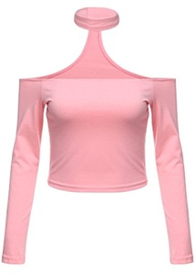 OURS Women's Long Sleeve Off Shoulder Open Back Crop Choker Blouse Top (XL, Pink)
