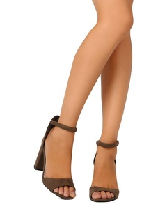 Qupid FE64 Women Faux Suede Peep Toe Ankle Strap Block Heel Sandal - Khaki (Size: 7.0)