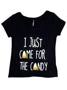 Electric Pink Womens Black I Just Came For The Candy Halloween T-Shirt Tee Shirt