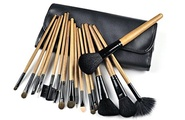 Celltronic 16 PCS Makeup Brushes Professional Make Up Salon Cosmetic Brush Set Kit Brown with Roll up Black Pouch Bag