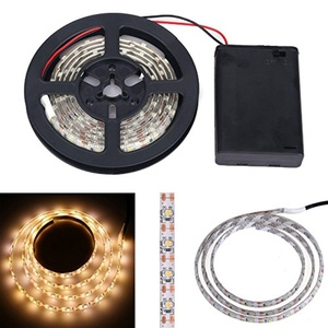 MOMO Waterproof 3528 SMD 60 Leds Strip Lights Battery Operated 1M Led Flexible Light Strip Crafts Lighting LED Tape with Control Box for Garden/Kitchen/Cars/Homes (Warm White)