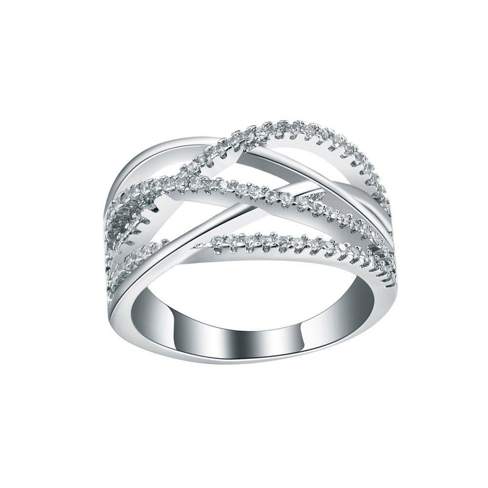 Womens Sterling Silver CZ Cublic Zircon Cross Full Crystal Finger Ring Jewelry US size 6,7,8,9
