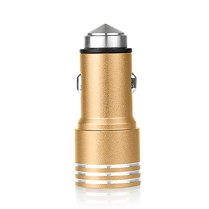 TP 2 In1 Car 12V-24V 3.1A Aluminum Cigarette Lighter Power Dual USB Multi-function Car Safety Emergency Hammer (gold)