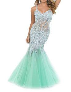 Favors Women's Beading Mermaid Evening Dress Halter Prom Gowns Long Mint Custom