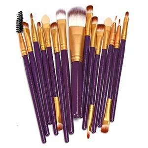 Makeup Brushes, Yasalu 15Pcs/Set Pro Makeup Brush Tools Make-up Toiletry Kit Wool Makeup Brush Set (Purple)