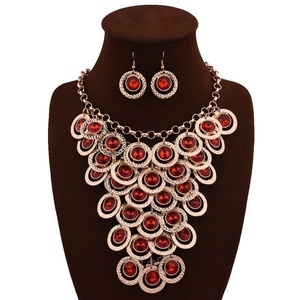 ARICO Luxury Ruby Jewelry Big Multi Layer Necklace Set Earrings Parure Bijoux Femme Sieraden Sets Chunky Jewelry Set Crystal NE565