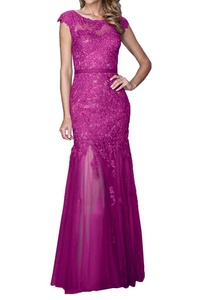 MILANO BRIDE Affordable Evening Dress Party Gown Mermaid Applique Illusion Neck-12-Fuchsia