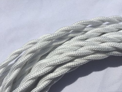 White Twisted 18/2 Cotton Cloth Covered Cord - 25' Antique Style Wire - 18 Gauge 2 Conductor - 18/2 Vintage Style Cord - by Industrial Rewind by Industrial RewindTM