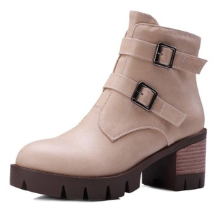 CHFSO Women's Trendy Solid Round Toe Buckle Mid Chunky Heel Platform Boots Beige 4 B(M) US