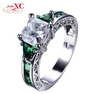 Cherryn Jewelry White Square Emerald Zircon Stone Ring White Gold Filled Wedding Finger Ring Fashion Jewelry RW0063