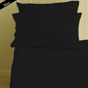 Lussona Collection 300 Thread Count 100% Organic Cotton Bed Sheets - 4 Piece Bed Sheet Set 20'' Deep Pocket HIGHEST QUALITY & LOW PRICE- Wrinkle Free Hypoallergenic Bedding- Standard ,Black.