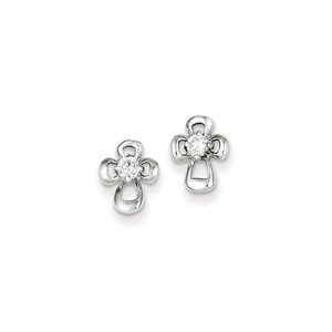 .925 Sterling Silver 10 MM Children's CZ Open Cross Post Stud Earrings