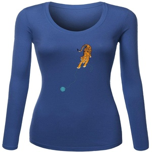 Little tiger for Women Printed Long Sleeve Cotton T-shirt