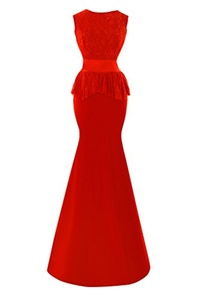 Bess Bridal Women's Lace Mermaid Long Formal Wedding Prom Evening Dresses US16 Red
