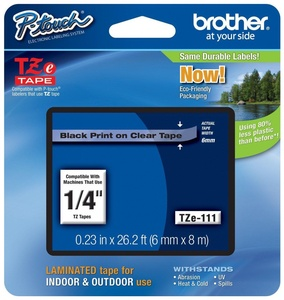 Genuine Brother TZe Black on Clear P-touch Tape, Laminated with Split Backing blk/clr