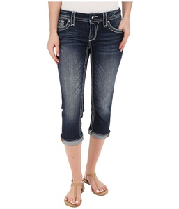 Rock Revival Women's Clover P13 Capris Dark Blue Jeans 25 X 20