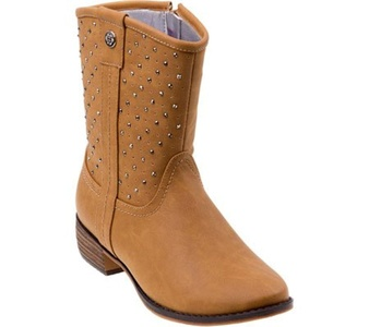 Nanette Lepore Girls' NL20036C Studded Cowgirl Boot,Tan,US 1 M