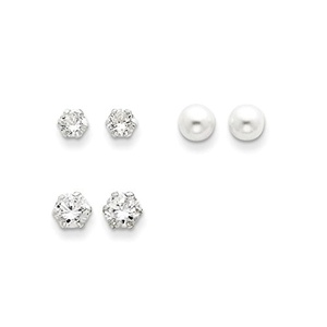.925 Sterling Silver 5 MM Sm & Lg CZ & Cultured Pearl Set Post Stud Earring Set