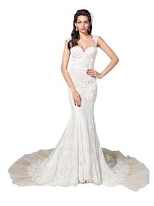 Angel Formal Dresses Women's Sweetheart Straps Chapel Train Mermaid Lace Wedding Dresses(6,Ivory)