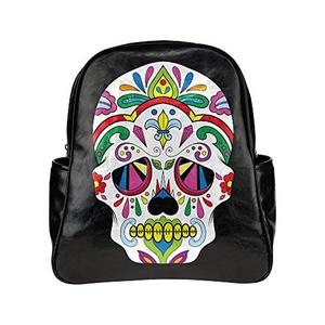 Sugar Skull Unisex Pu Leather Computer Laptop Backpack, Travel Bag Hiking Knapsack,School College Student Backpacks Shoulder Bags For Women/Girls,Men/Boys