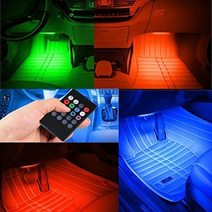 7-Color RGB LED Neon Strip Light Music Remote Control For Car Interior Lighting