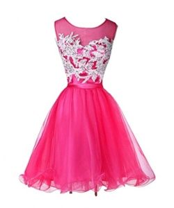 Winnie Bride Short A-line Princess Prom Ball Dress for Juniors Homecoming Dress-24W-Fuchsia
