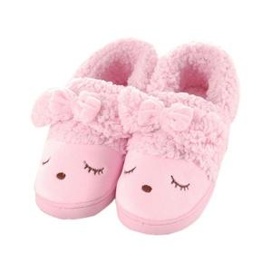 Lerela Women's Cute Bow Animal Design Anti-slip House Slippers Shoes Pink M
