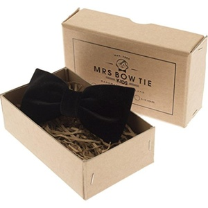 Mrs Bow Tie Velvet Junior Ready-Tied Bow Tie - Black 2-5 Years