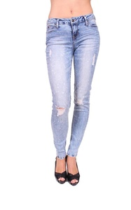 Celebrity Pink Women Distressed Skinny Jeans with Bleach 7 Light Denim