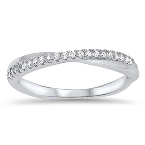 Infinity Knot White CZ Wedding Ring New .925 Sterling Silver Band Size 10 (RNG16621-10)