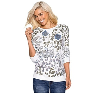 TAORE Woman Printed Round Neck Long Sleeve Loose Tunic Knitted Shirt (S, White)