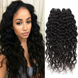 Allove Hair 7A Grade Brazilian Natural Water Wave Virgin Human Hair Weave Natual Black Color 3 Bundles Human Hair Extension Weave 300g Total (16 16 16inch)