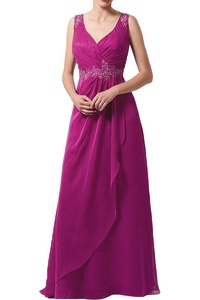 Gorgeous Bridal Long Sleeveless Chiffon Prom Dress Embroidery Evening Gown- US Size 14