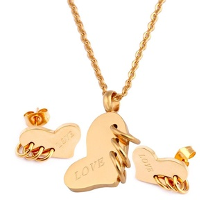 Fashion Necklace Set 18K Gold Plated Stainless Steel Necklace/Earrings Heart Jewelry Sets For Women