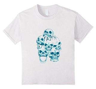 Kids Tshirt Skull Faith Halloween Gothic Abstract Skeleton  4 White