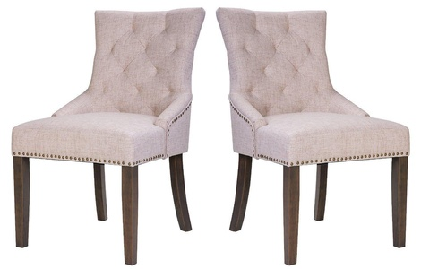 Dining Chair Leisure Padded Chair with Armrest, Nailed Trim, Beige, Set of 2 (Beige)