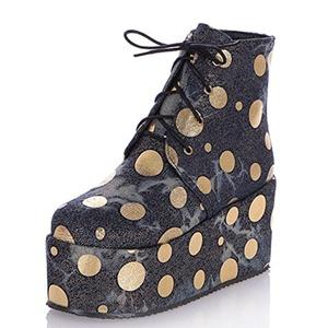 Fashion Heel Women's Wedge Heel Round Toe Platform Polka Dots Lace Up Ankle Bootie (6.5, blue)