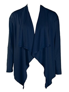 Joeoy Women's Navy Draped Waterfall Open Front Long Sleeve Short Cardigan Coat-S