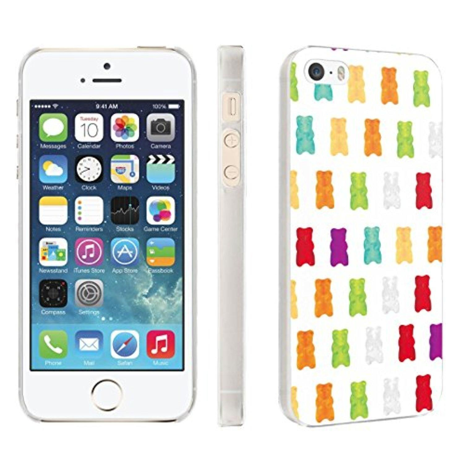 iPhone [SE/5/5S] Phone Case [Skinguardz] [Clear] Fancy Protection [Clear Form Fit] - [White Gummy Bear] for iPhone [SE/5/5S]